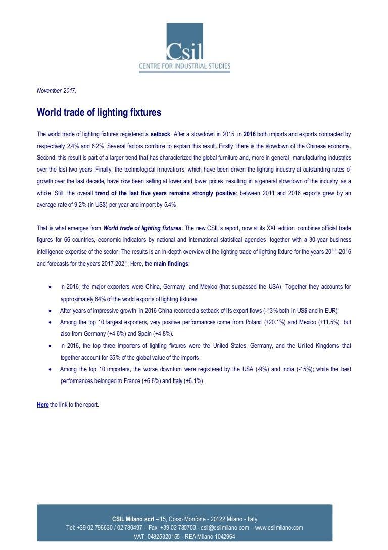 Press release csil world trade of lighting fixtures 2017