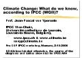 What do we know, according to IPCC (WG II)?