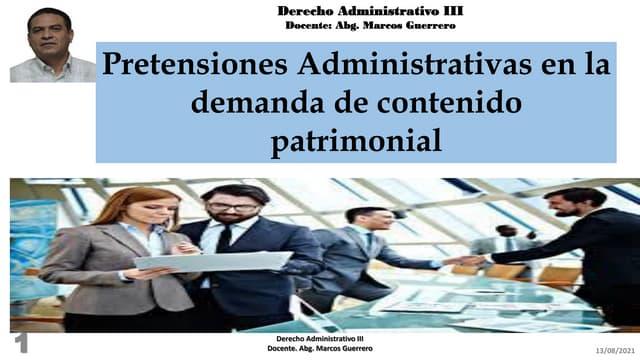 Pretensiones administrativas de las demandas de contenido patrimonial