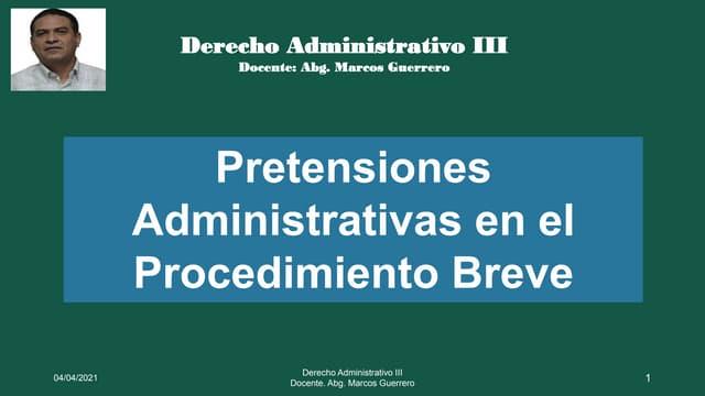 Pretensiones administrativas del procedimiento breve