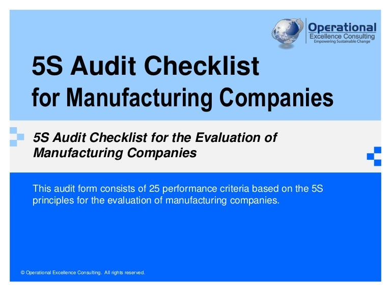 5s audit checklist for manufacturing companies by operational excelle