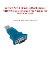 USB 2.0 to RS232 Chipset CH340 Serial Converter 9 Pin Adapter for Win7//8 GV