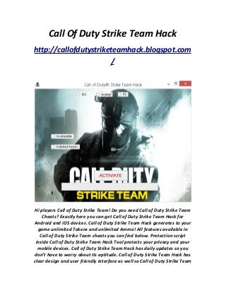 Call Of Duty Strike Team Hack