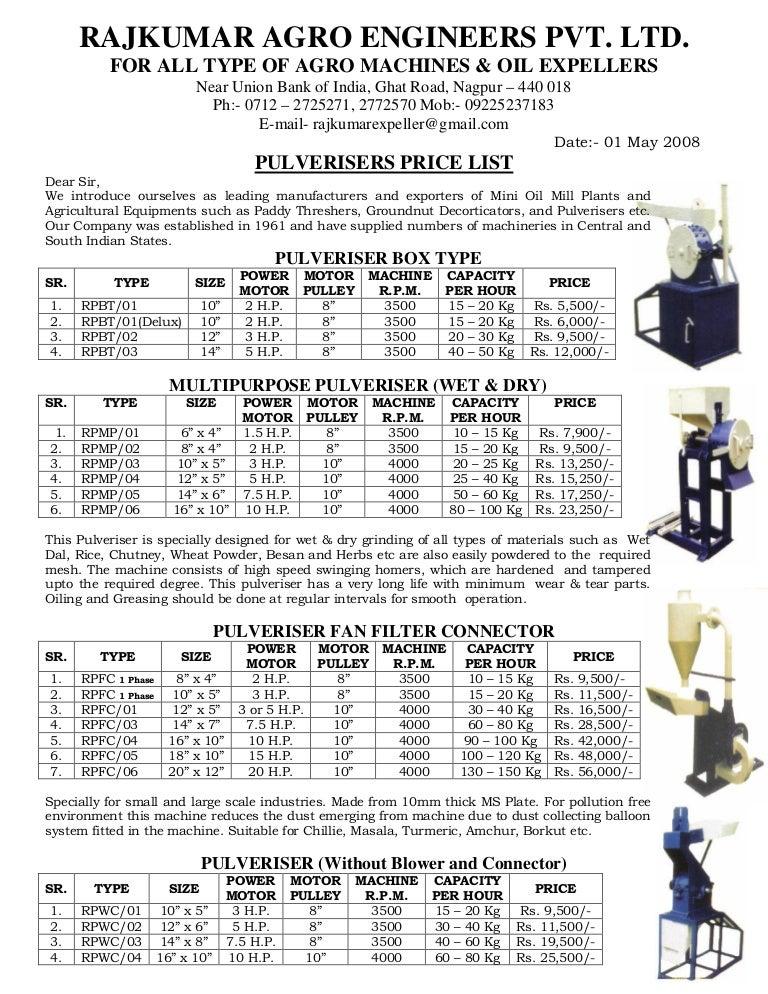 sc 1 st  SlideShare & Price List Of PulverisersKandap MachineSevai M
