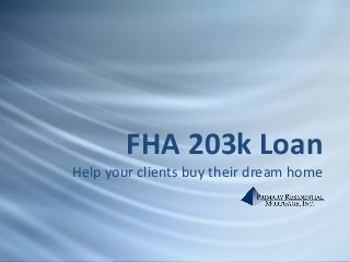 Primary residential mortgage 203 k presentation
