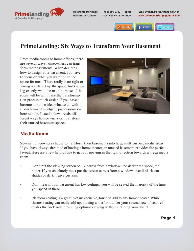 Prime Lending Six Ways To Tranform Your Basement