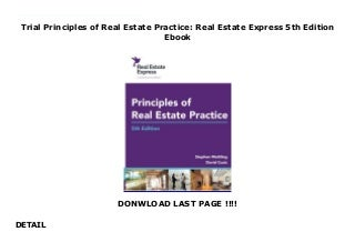 Trial Principles of Real Estate Practice: Real Estate Express 5th Edition Ebook