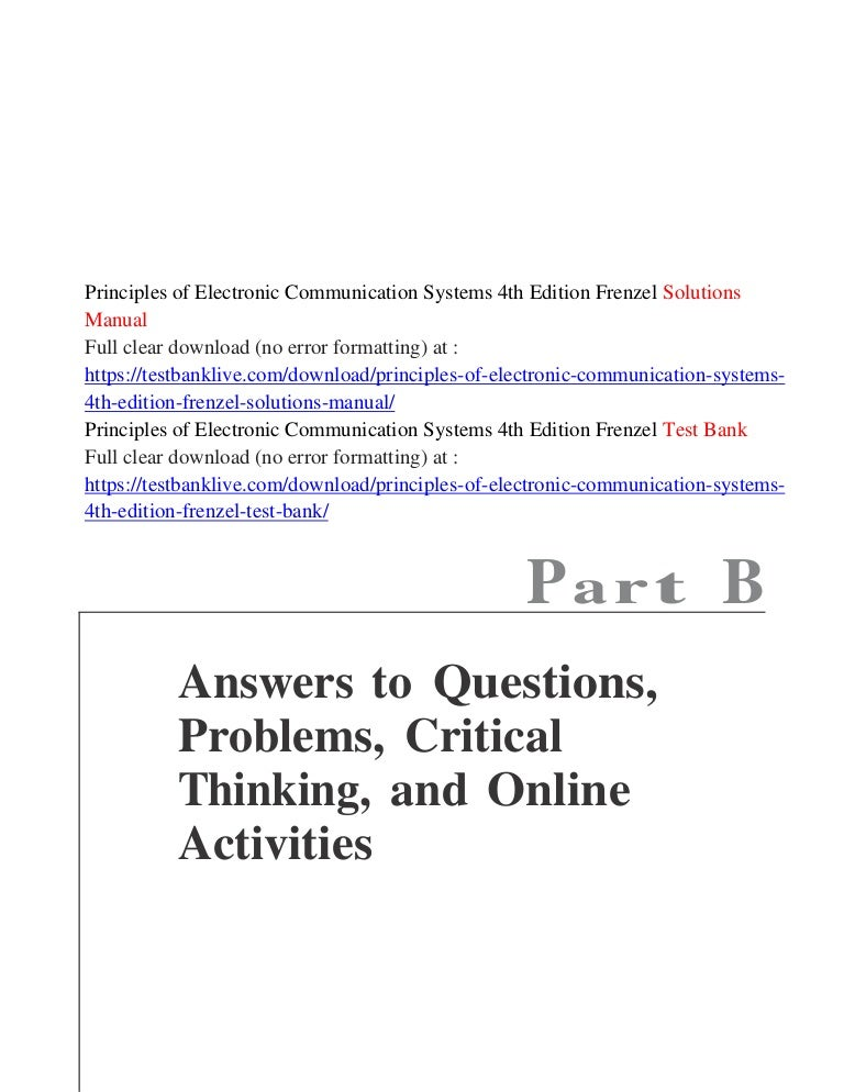 Principles Of Electronic Communication Systems 4th Edition Frenzel So