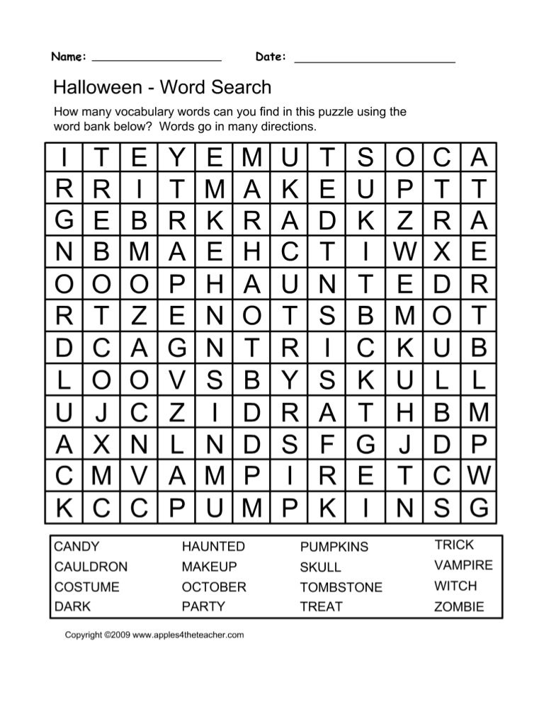 It is a graphic of Adorable Halloween Word Search Puzzle Printable