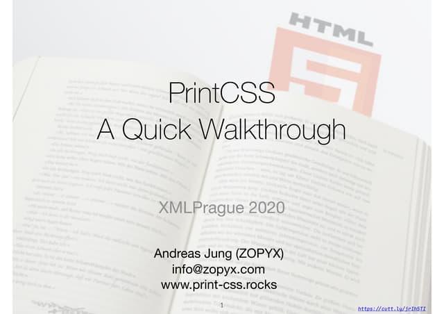 PrintCSS workshop XMLPrague 2020