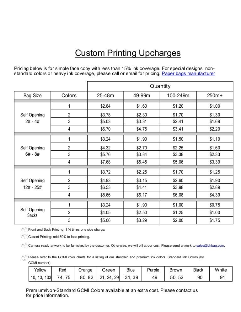 Printing Upcharges With Gcmi Info Revised 1 31 2014