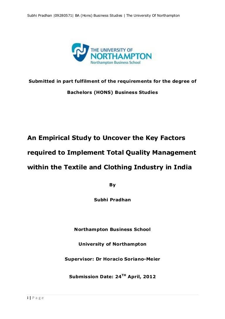 Dissertation on total quality management