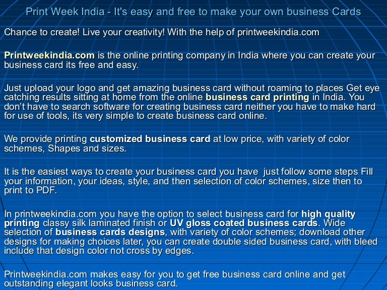 Print week india its easy and free to make your own business cards reheart Images