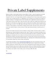Private label supplements voxnutrition com