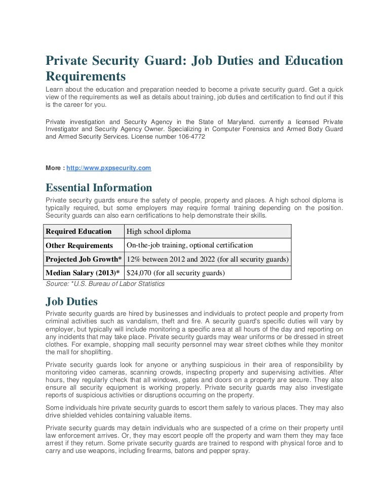 Job Duties And Education Requirements In State Of Maryland