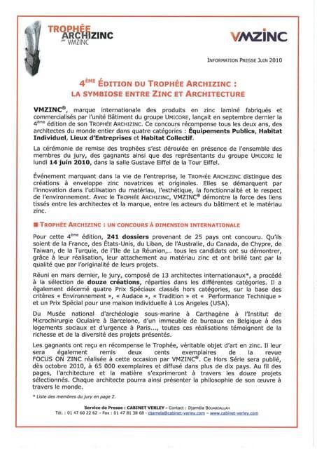 Trophée International Archizinc 2010