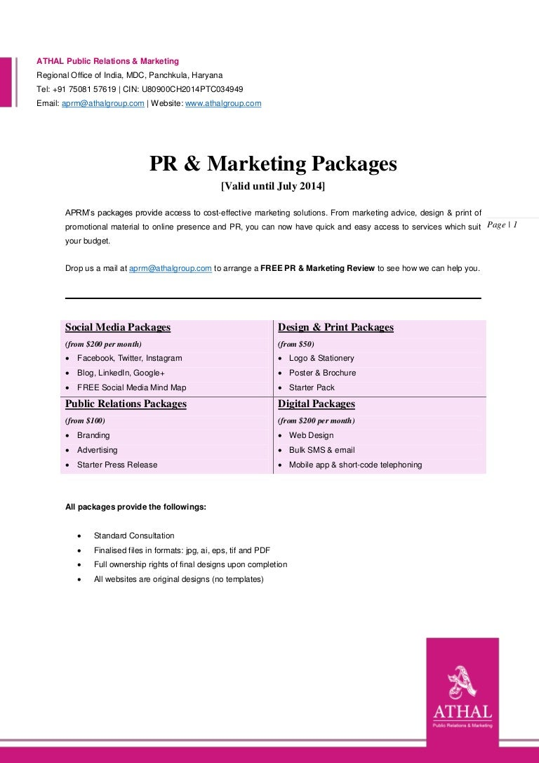 ATHAL Public Relations & Marketing - Packages