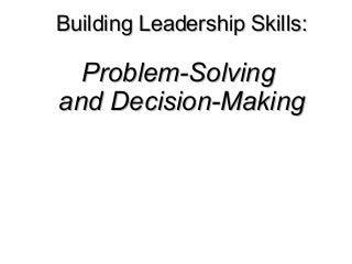 Problem solving skills resume example