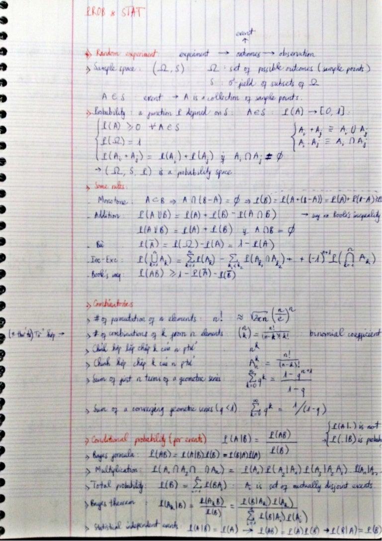Probability and statistics cheatsheet biocorpaavc