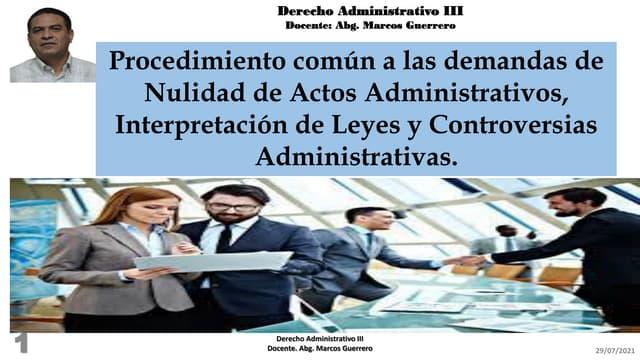 Procedimiento común a las demandas de nulidad de actos administrativos, interpretación de leyes y controversias administrativas