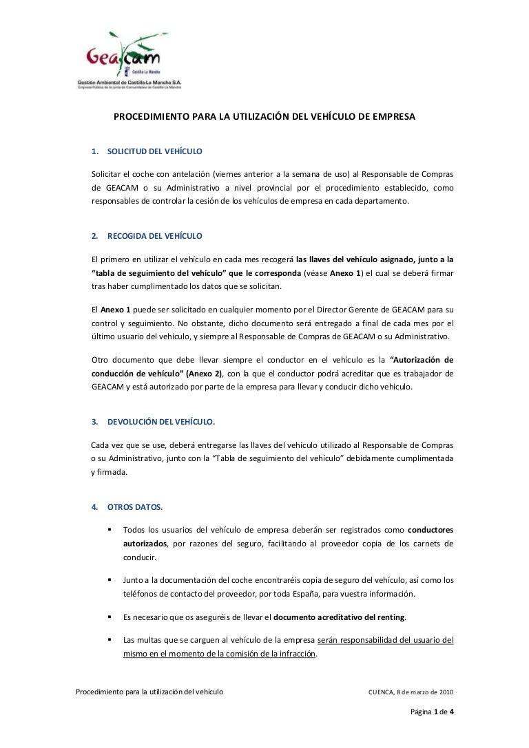 Procedimiento utilizacion vehiculo_empresa