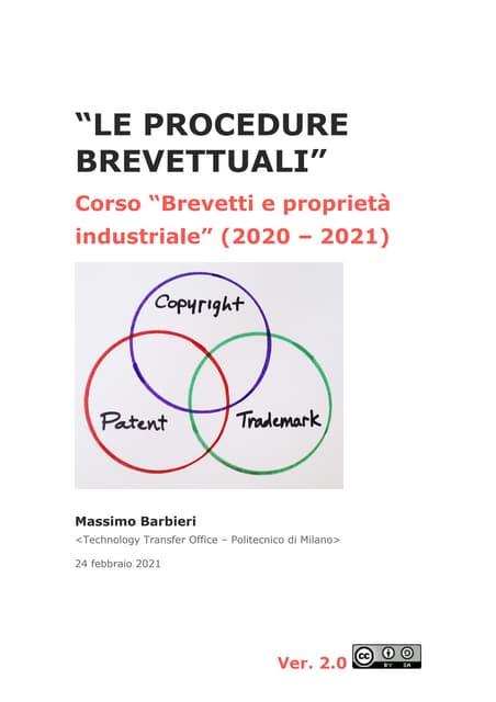 Le procedure brevettuali (di M. Barbieri) - versione 2021