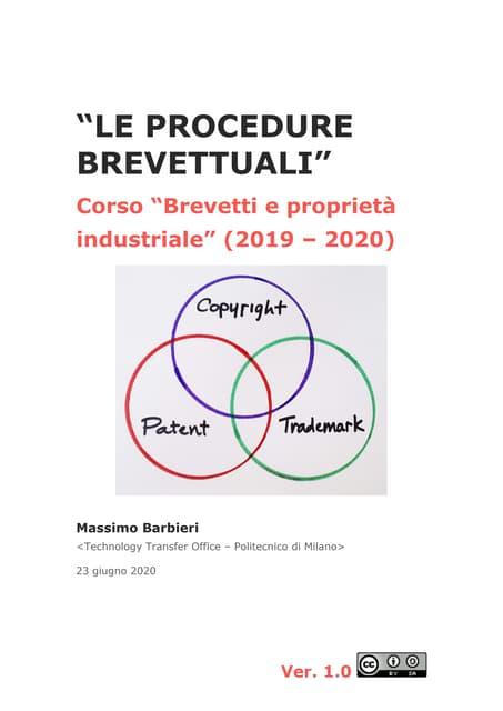 Le procedure brevettuali (di Massimo Barbieri, giugno 2020)