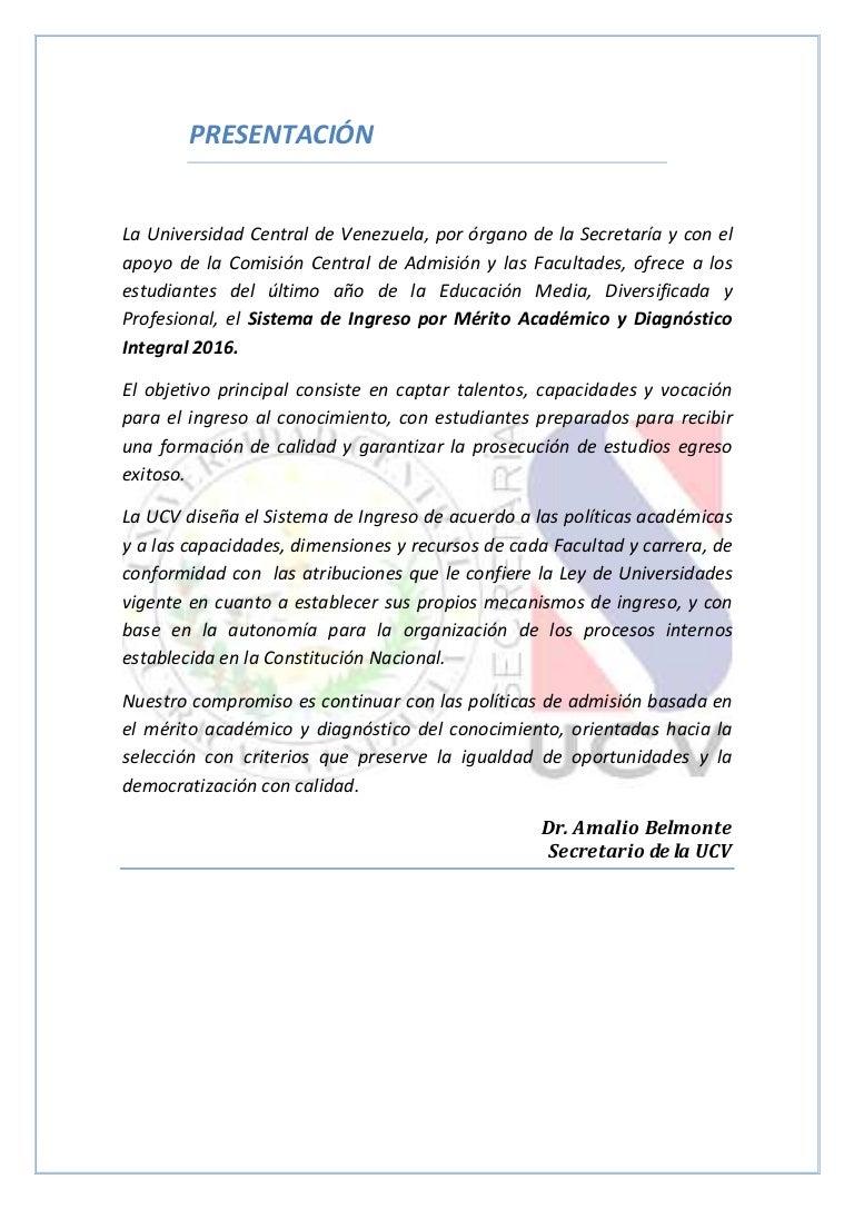 Proceso de Admisión UCV 2016