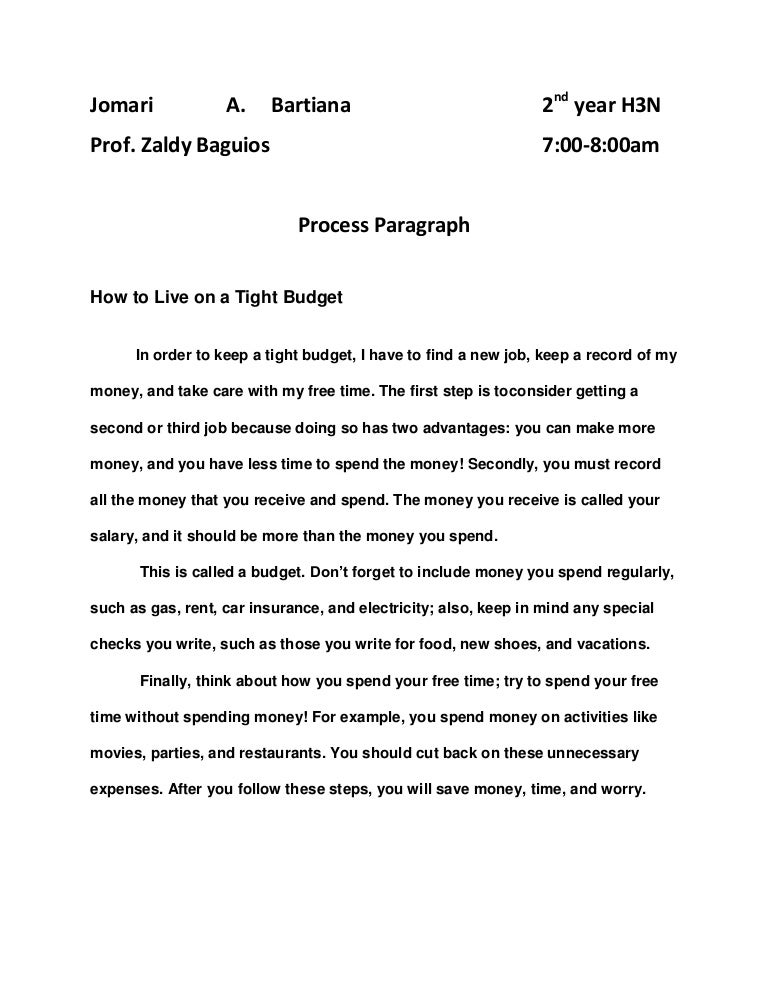 how to write a process paragraph