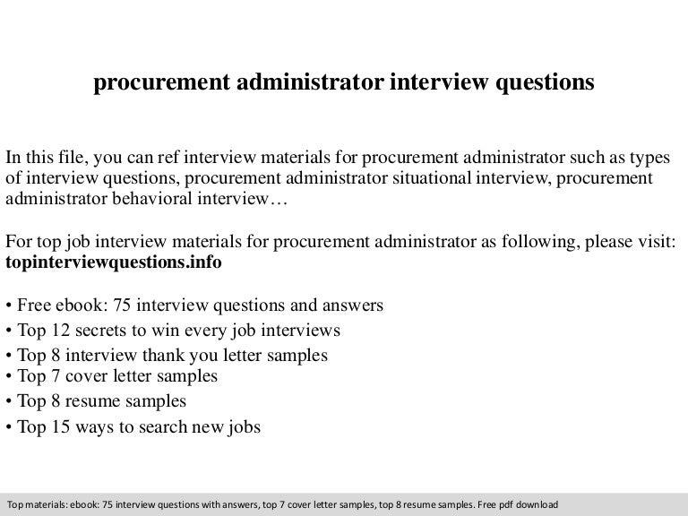 Procurement administrator interview questions