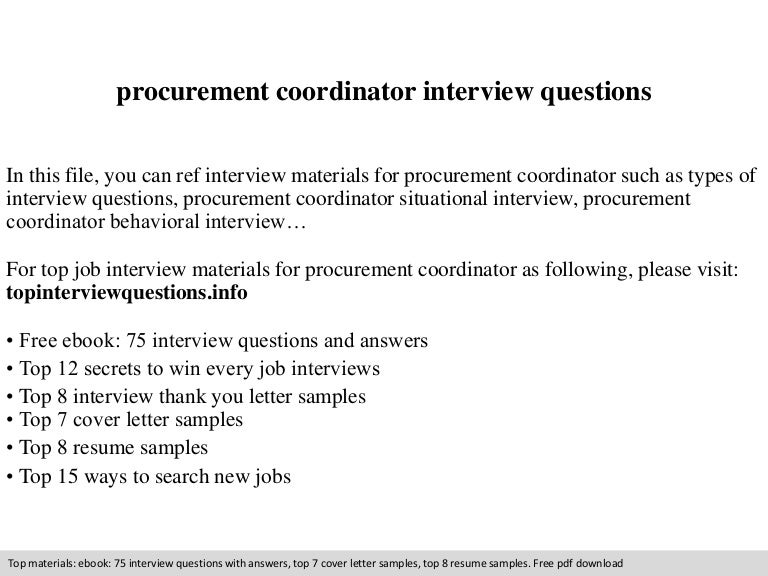procurement coordinator interview questions