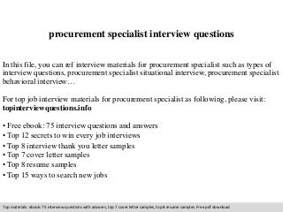 procurement specialist interview questions. Resume Example. Resume CV Cover Letter