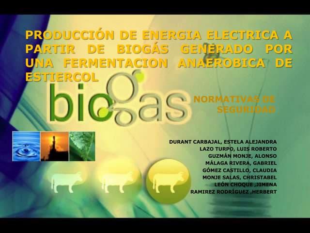 Producción de energia electrica a partir de biogás