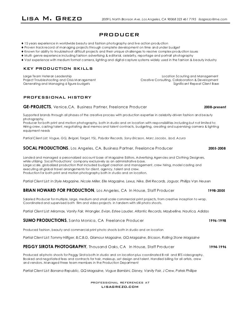 producer resume - Advertising Agency Resume