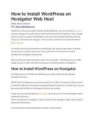 Install WordPress on Hostgator Web Hosting Plan