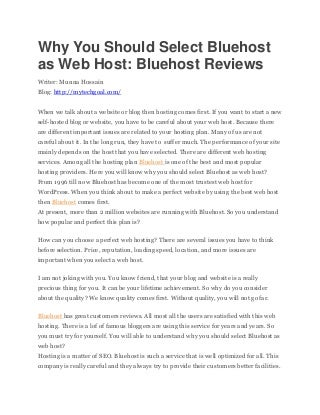 Why You Should Select Bluehost