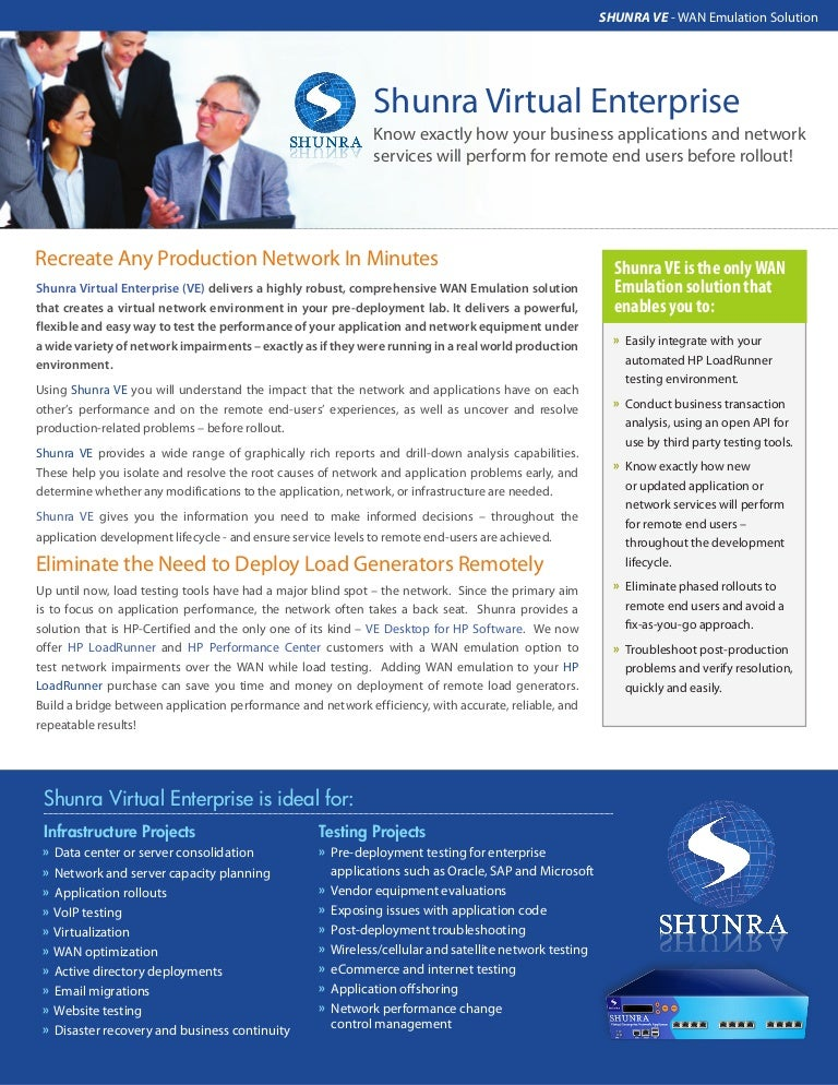 Shunra Software Product Brochure