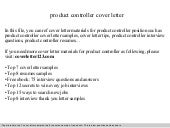 Product controller cover letter
