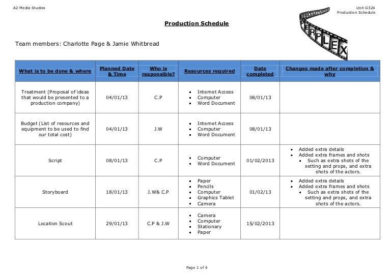 shooting schedule template word