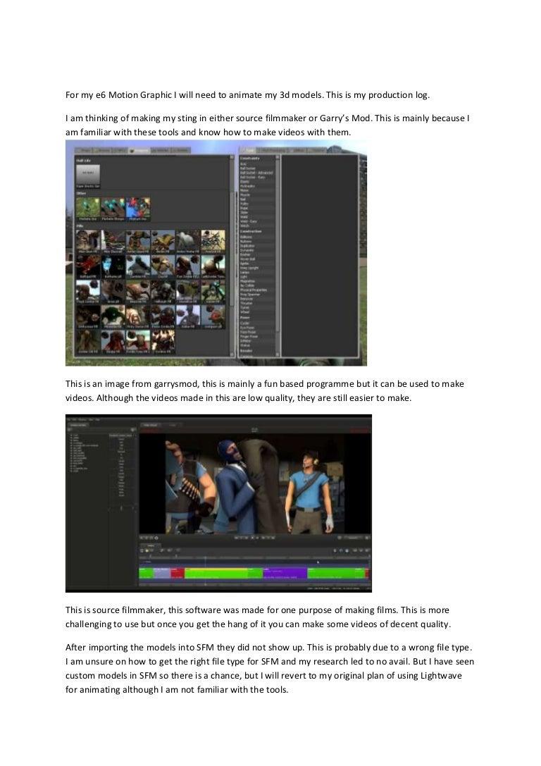 3D Sfm Videos production log
