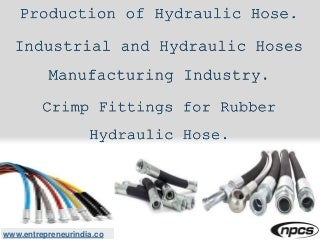 Production of Hydraulic Hose. Industrial and Hydraulic Hoses Manufacturing Industry. Crimp Fittings for Rubber Hydraulic Hose.