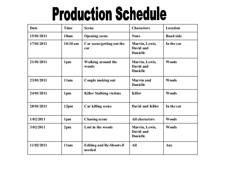Unusual Movie Production Schedule Template Photos  Example Business