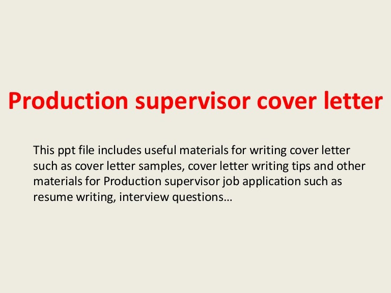production manager cover letters