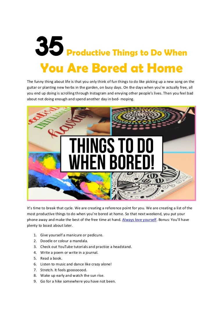 Productive things to do when you are bored at home