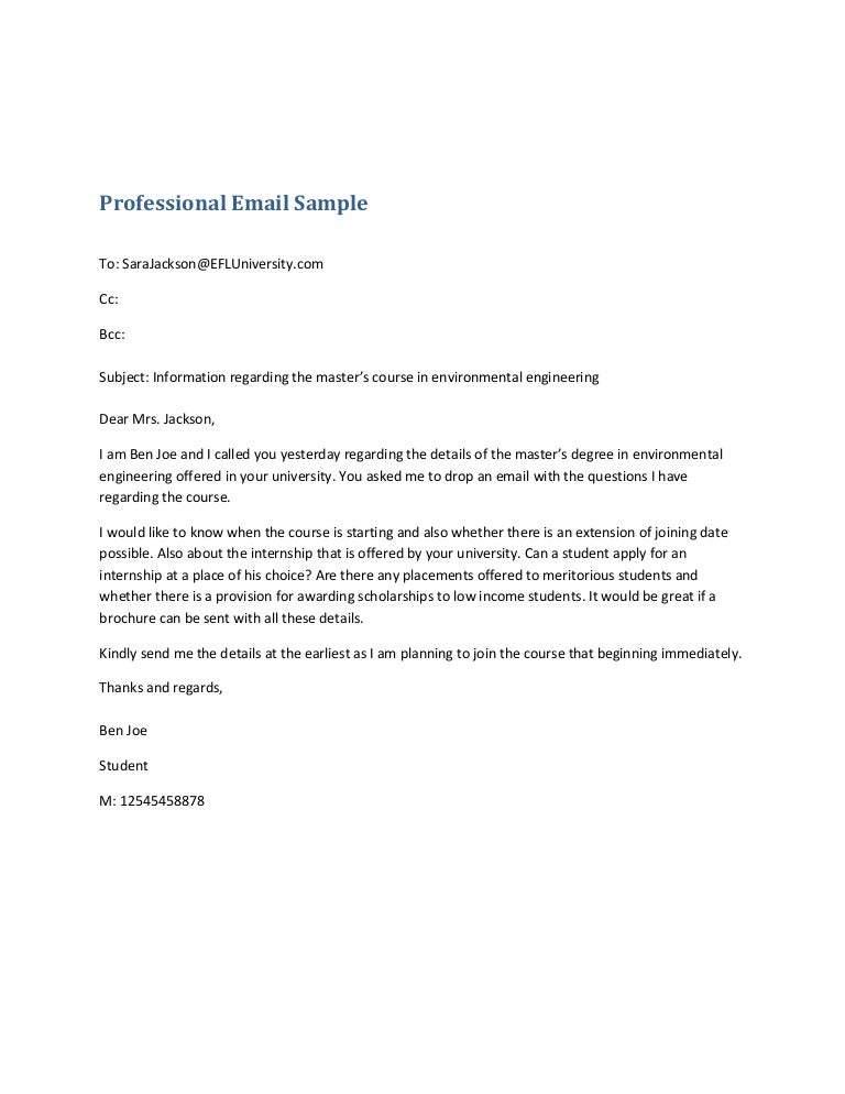 professional email sample