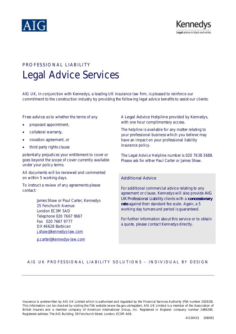 Aig Quote Professional Liability Legal Advice Services Aig Uk In Conjunction Wi…