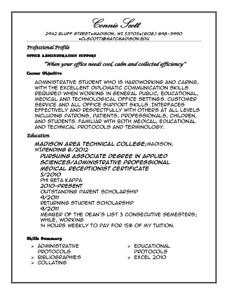 Professional profile resume