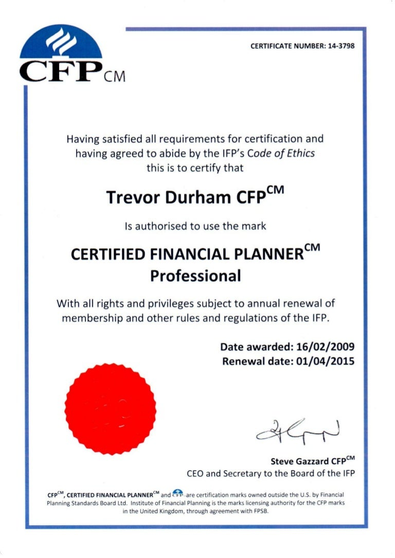 Certified financial planner certificate xflitez Choice Image