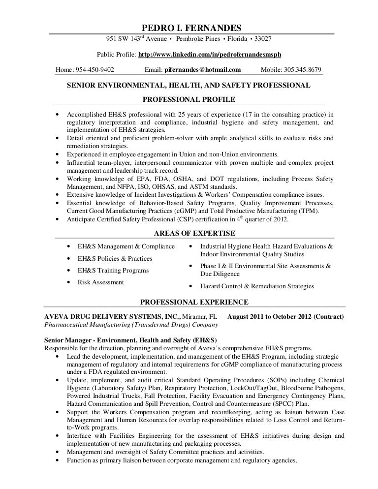professional resume pif december 2012 - Certified Industrial Hygienist Resume