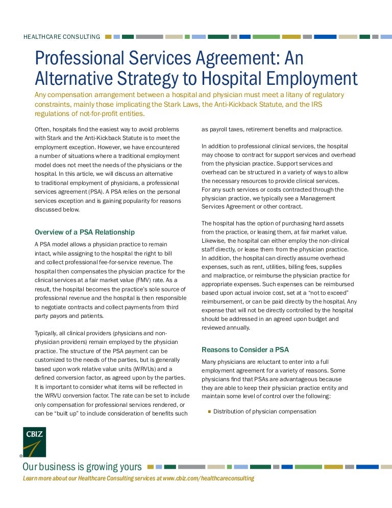 Professional Services Agreement An Alternative Strategy To Hospital